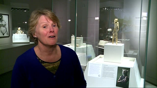 british museum showcases ice age art; england: london: british museum: int animal carvings from the ice age on display pull focus various of reporter... - british museum stock videos & royalty-free footage