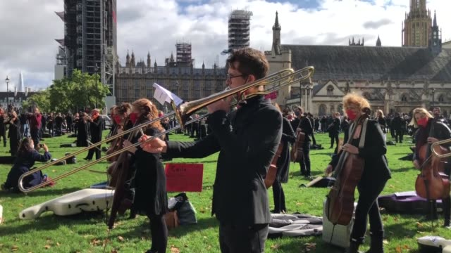 british musicians in london perform a music show in parliament square on october 006, 2020 to draw attention to the economic difficulties they... - concentration stock videos & royalty-free footage
