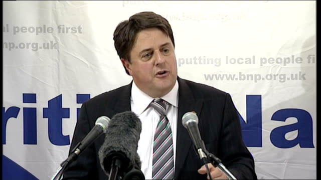 british national party's nick griffin aims for barking seat griffin speech sot have sold off railways utilities playing fields council houses post... - griffin stock videos & royalty-free footage