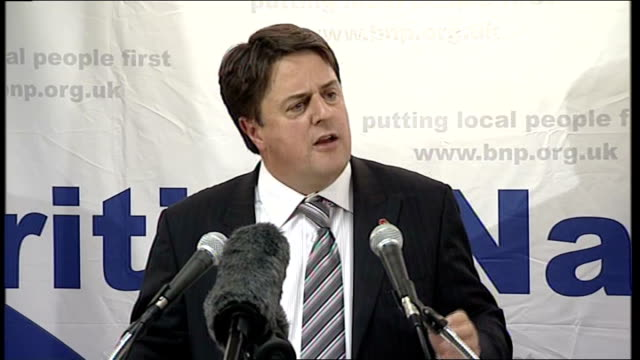british national party's nick griffin aims for barking seat griffin speech sot attacks patricia hewitt for being rewarded by private companies for... - alan duncan stock-videos und b-roll-filmmaterial