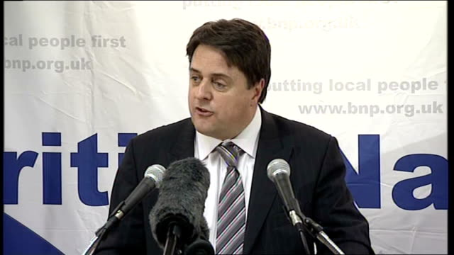 british national party's nick griffin aims for barking seat griffin speech sot when i went to wooton bassett got quiet and respectful response / all... - griffin stock videos & royalty-free footage