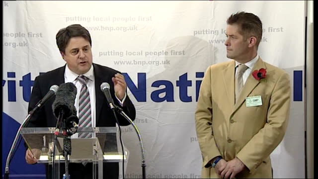 british national party's nick griffin aims for barking seat griffin invites richard barnbrook on to stage griffin speech sot barnbrook is face of bnp... - griffin stock videos & royalty-free footage