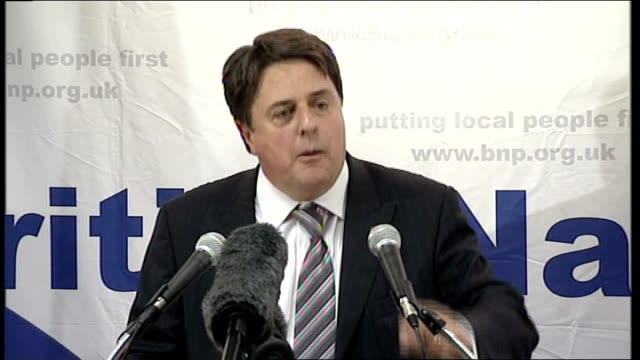british national party's nick griffin aims for barking seat griffin speech sot unfair that after years of fighting for freedom and independence... - griffin stock videos & royalty-free footage