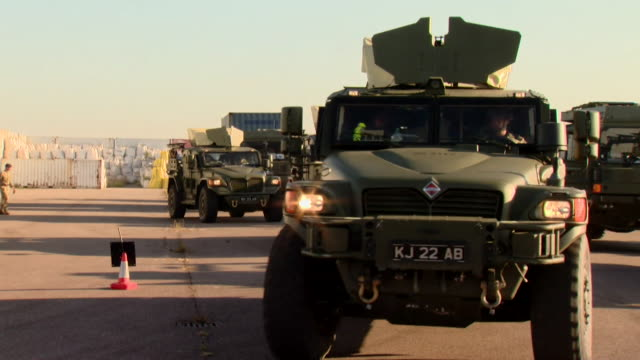 british nato convoy sets off from netherlands to take part in nato military exercise - military land vehicle stock videos & royalty-free footage