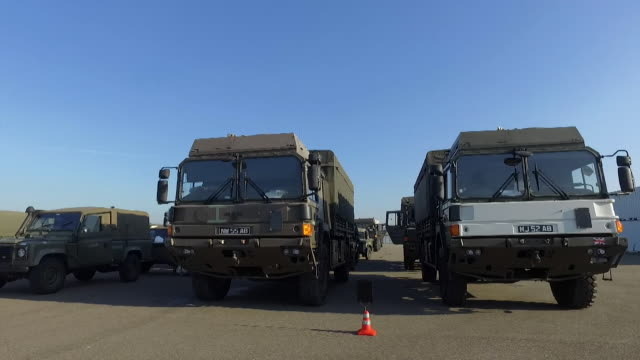 British NATO military vehicles lined up in Netherlands before NATO military exercise