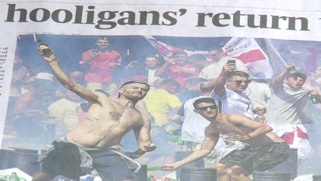 vídeos de stock, filmes e b-roll de british newspapers decry the shame of marseille the morning after violence broke out at euro 2016 with english and russian supporters fighting... - euro 2016
