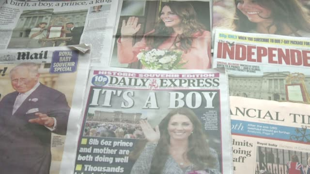 british newspapers splashed the arrival monday of prince william and his wife kates new born son with many saying simply its a boy clean british... - 0 11 mesi video stock e b–roll