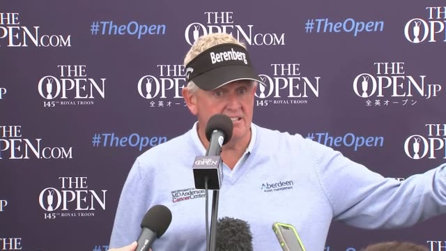 Day 1 INT Colin Montgomerie press conference SOT/ Colin Montgomeie standing on green Montgomerie along and into building on course