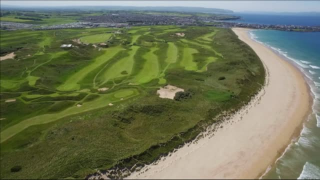 buildup northern ireland county antrim royal portrush shot of royal portrush golf course and beach alongside - golf course stock videos & royalty-free footage