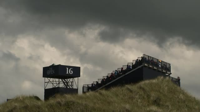 buildup northern ireland county antrim royal portrush ext tiger woods playing drive during practice session ahead of 2019 british open spectators... - tiger woods stock videos & royalty-free footage