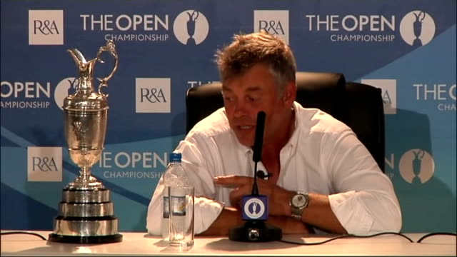 stockvideo's en b-roll-footage met darren clarke celebrates victory clarke press conference sot it will benefit me hugely financially but it's more to have my name on there which is... - british open