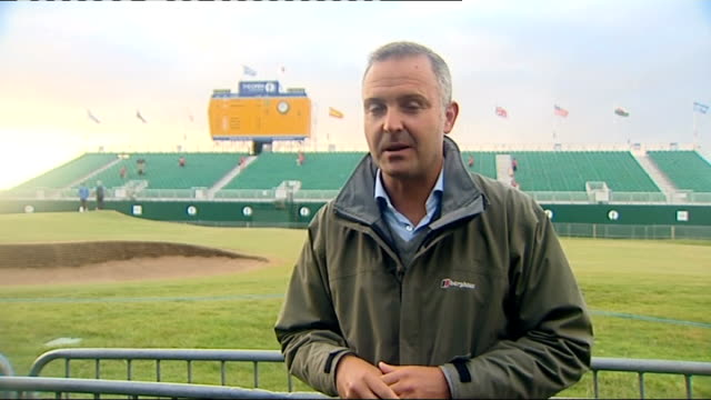 british open championship 2011: third day: darren clarke leads; reporter to camera - 3日目点の映像素材/bロール