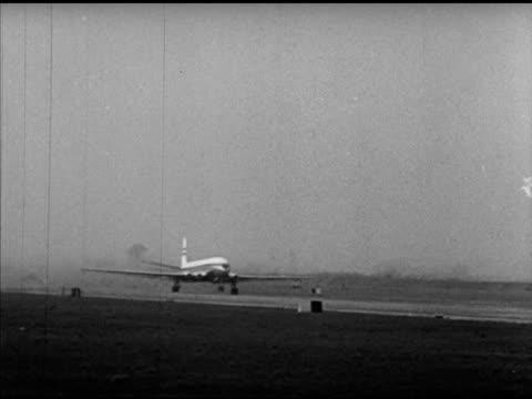 british overseas airways corporation de havilland comet jet taking off, taking off w/ wing fg. tracking jet ascending, landing gear wheels retracting. - comet stock videos & royalty-free footage