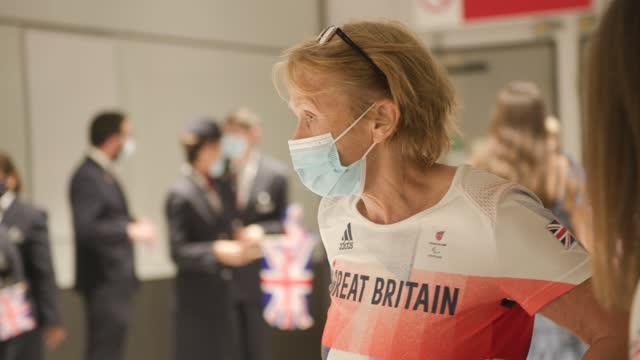 british paralympians arrive back into the uk at heathrow on september 06, 2021 in london, england. team gb ranked second in the medal count for the... - persons with disabilities stock videos & royalty-free footage