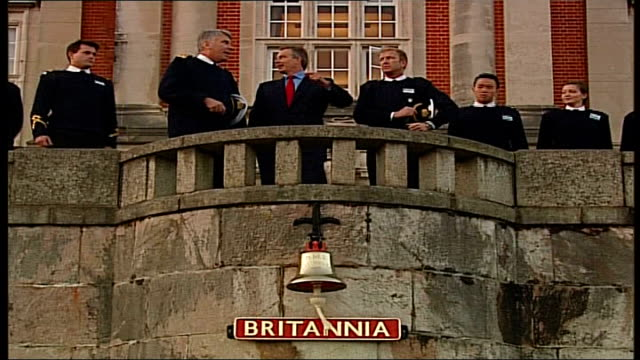 british plans to reduce troops in basra england devon dartmouth royal naval college ext tony blair mp with senior naval staff on balcony of college - dartmouth england stock videos & royalty-free footage