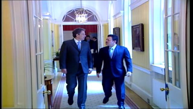 British PM Tony Blair meets King Abdullah of Jordan ITN London Downing Street Tony Blair MP King of Jordan along corridor Blair King of Jordan shake...