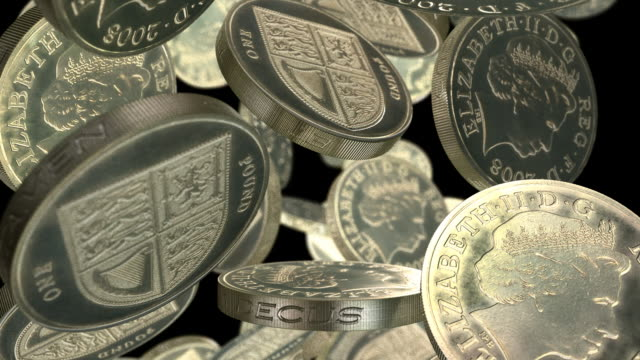 british pound coins falling slowly full width - large group of objects stock videos & royalty-free footage