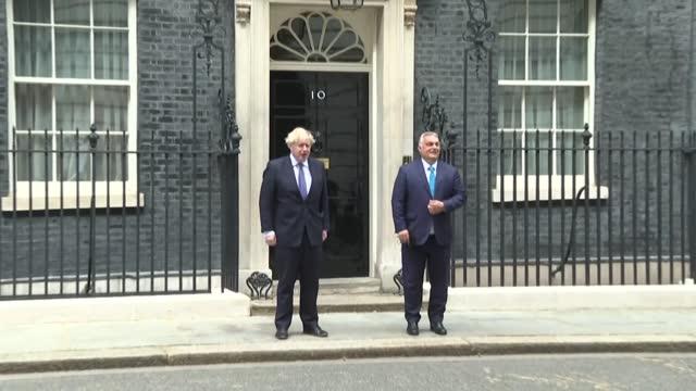 british prime minister boris johnson receives hungarian far-right leader viktor orban to downing street - eastern european culture stock videos & royalty-free footage