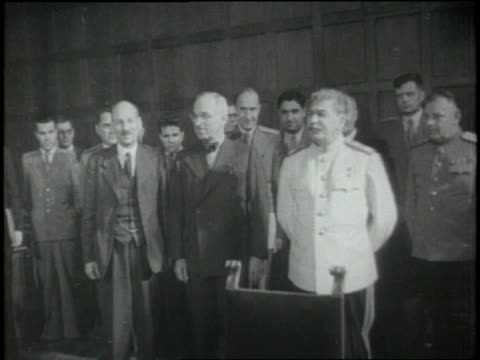 british prime minister clement atlee, u.s. president harry s. truman, and joseph stalin meet together at the potsdam conference. - harry truman stock videos & royalty-free footage