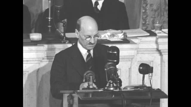 british prime minister clement attlee addresses us congress from the well of the us house of representatives chamber as vice president alben barkley... - oahu stock videos & royalty-free footage