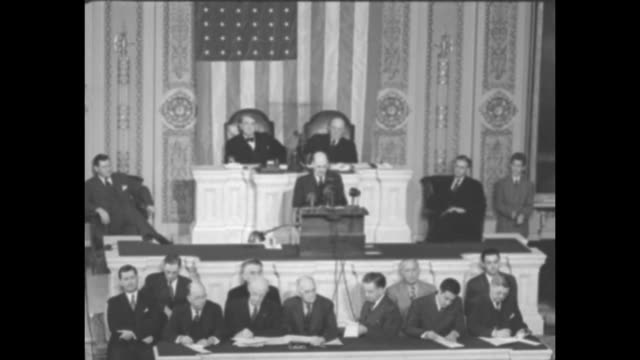 SOT British Prime Minister Clement Attlee standing at podium on Speaker's Rostrum in House Chamber toward the beginning his speech to the joint...