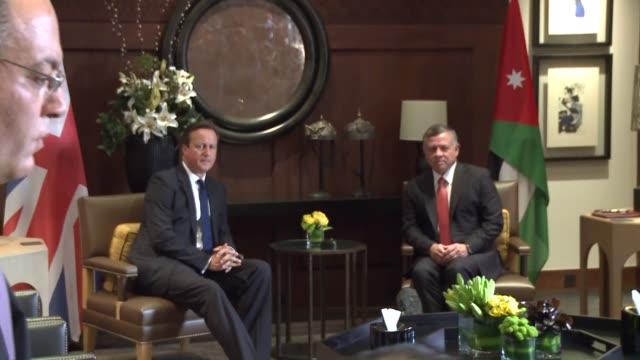 British Prime Minister David Cameron meets with Jordan's King Abdullah II at the alHuseinia Royal Palace in Amman Jordan on September 14 2015