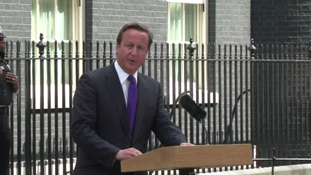 british prime minister david cameron said monday the regime of libyan leader moamer kadhafi was in 'full retreat' and he should give up any hope he... - prime minister of the united kingdom stock videos and b-roll footage