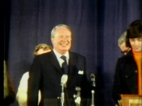 british prime minister edward heath addresses a crowd in southport, england. - (war or terrorism or election or government or illness or news event or speech or politics or politician or conflict or military or extreme weather or business or economy) and not usa stock videos & royalty-free footage