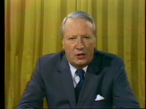 british prime minister edward heath delivers a speech about the role of the british government in light of a coal workers' strike. - (war or terrorism or election or government or illness or news event or speech or politics or politician or conflict or military or extreme weather or business or economy) and not usa stock videos & royalty-free footage