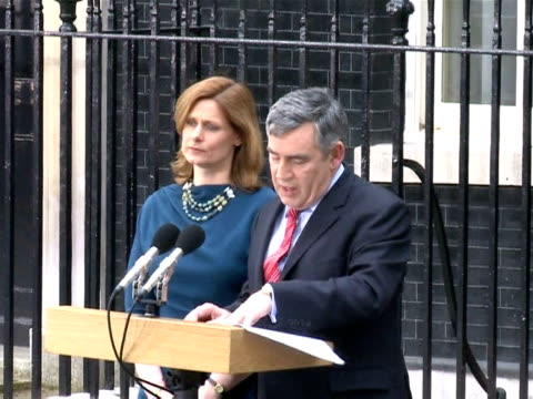 british prime minister gordon brown resigned on tuesday, ending 13 years of labour rule and paving the way for conservative leader david cameron to... - greater london stock videos & royalty-free footage