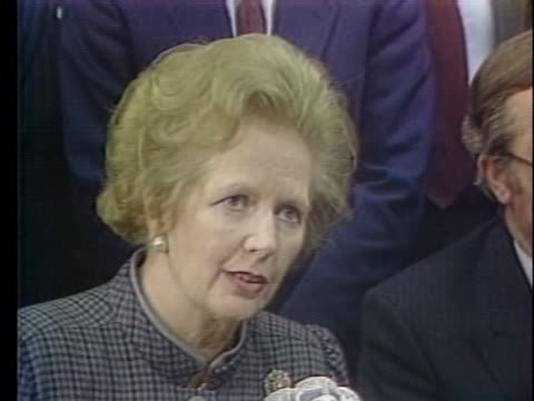 stockvideo's en b-roll-footage met british prime minister margaret thatcher comments on the ferryboat disaster in zeebrugge belgium - business or economy or employment and labor or financial market or finance or agriculture
