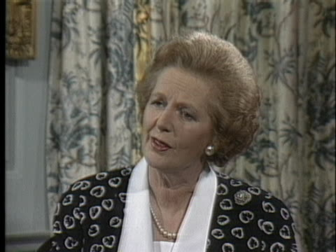 british prime minister margaret thatcher discusses global reductions of nuclear weapons and other political issues. - united states and (politics or government) stock videos & royalty-free footage