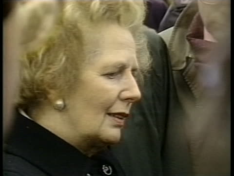 british prime minister margaret thatcher discusses the horror of the pan am flight 103 crash site in lockerbie, scotland. - (war or terrorism or election or government or illness or news event or speech or politics or politician or conflict or military or extreme weather or business or economy) and not usa stock videos & royalty-free footage