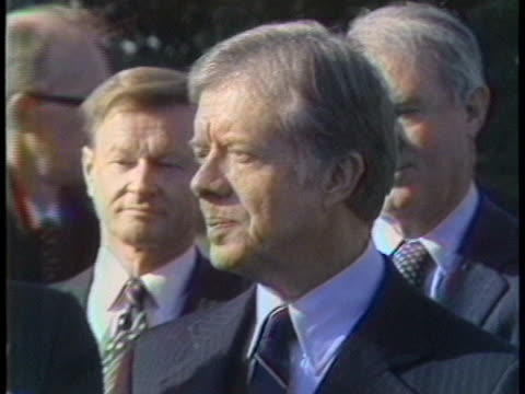 british prime minister margaret thatcher says that great britain will support president jimmy carter in his efforts to free us hostages held in iran - united states and (politics or government) stock videos & royalty-free footage