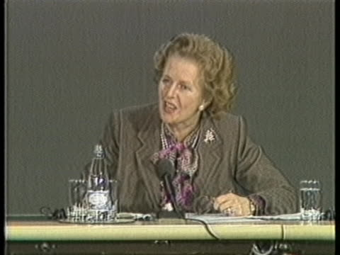 british prime minister margaret thatcher speaks in support of the us at a council of europe summit. - (war or terrorism or election or government or illness or news event or speech or politics or politician or conflict or military or extreme weather or business or economy) and not usa stock videos & royalty-free footage