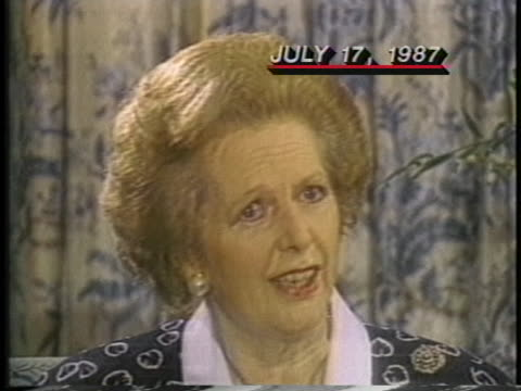 british prime minister margaret thatcher urges the us to take the lead in the persian gulf conflict. - (war or terrorism or election or government or illness or news event or speech or politics or politician or conflict or military or extreme weather or business or economy) and not usa stock videos & royalty-free footage