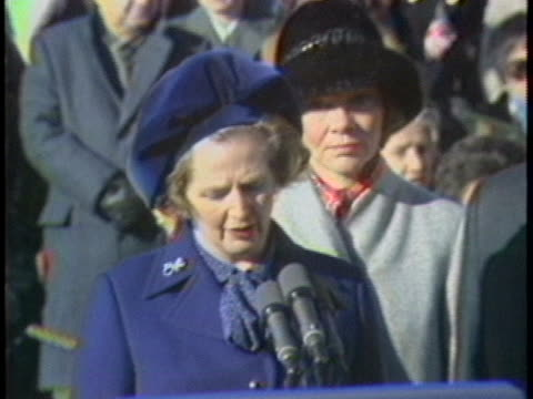 british prime minister margaret thatcher visiting in the us praises the american people for their selfcontrol in dealing with the iranian hostage... - 自制心点の映像素材/bロール