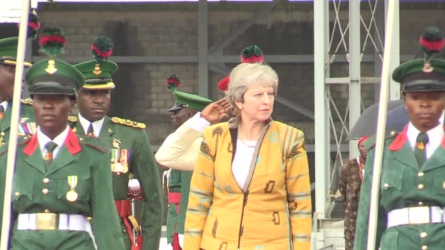 british prime minister theresa may arrives in nigerian capital abuja as she continues her african tour - prime minister video stock e b–roll