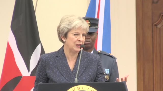 british prime minister theresa may commits to enhancing the future trade relationship betwen the uk and kenya - prime minister video stock e b–roll