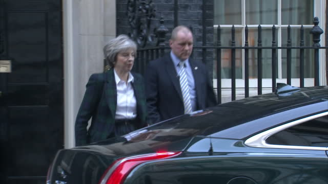 British Prime Minister Theresa May has set out the government's Brexit plan in a speech at Lancaster House Shows Theresa May departing Number 10...