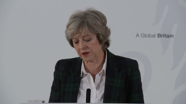 British Prime Minister Theresa May has set out the government's Brexit plan in a speech at Lancaster House Grab from Theresa May's speech where she...