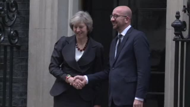 British Prime minister Theresa May meets her Belgian counterpart Charles Michel at 10 Downing Street