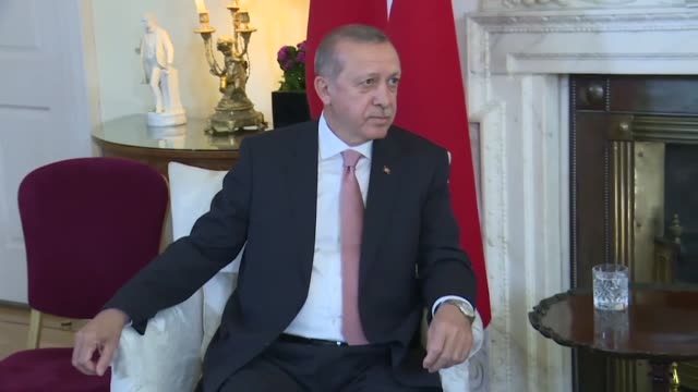 british prime minister theresa may meets with turkish president recep tayyip erdogan at downing street on may 15 2018 in london england turkish... - minister president stock videos and b-roll footage
