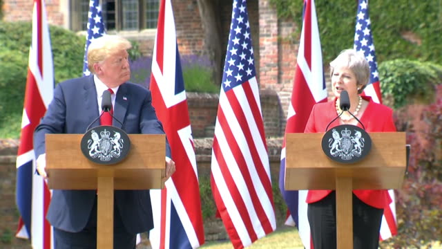 british prime minister theresa may speaks about leaving the european union and the effect that will have on their trade policies during a news... - business or economy or employment and labor or financial market or finance or agriculture stock videos & royalty-free footage