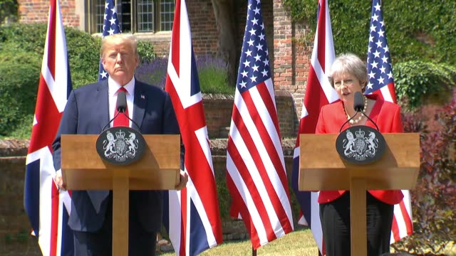 british prime minister theresa may speaks about the importance of preserving transatlantic unity during a news conference with president trump at... - (war or terrorism or election or government or illness or news event or speech or politics or politician or conflict or military or extreme weather or business or economy) and not usa stock videos & royalty-free footage