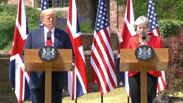 british prime minister theresa may speaks about the uk us relationship and the challenges that we face during a news conference at chequers in... - (war or terrorism or election or government or illness or news event or speech or politics or politician or conflict or military or extreme weather or business or economy) and not usa stock videos & royalty-free footage