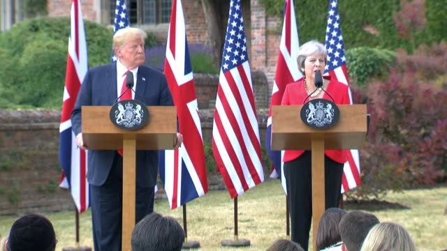 british prime minister theresa may speaks about uk immigration policies during a news conference with president trump at chequers in buckinghamshire,... - (war or terrorism or election or government or illness or news event or speech or politics or politician or conflict or military or extreme weather or business or economy) and not usa stock videos & royalty-free footage