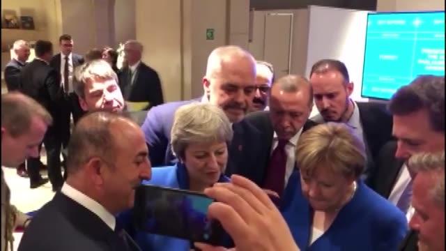 british prime minister theresa may turkish president recep tayyip erdogan german chancellor angela merkel albanian prime minister edi rama turkish... - 2018 stock videos & royalty-free footage