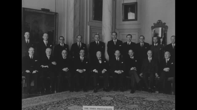 british prime minister winston churchill and members of his cabinet sit for photo opportunity / note exact day not known - winston churchill prime minister stock videos and b-roll footage