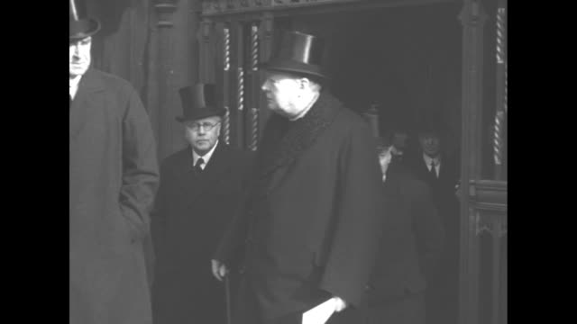 british prime minister winston churchill departs westminster abbey after funeral of neville chamberlain - 1940 stock videos & royalty-free footage